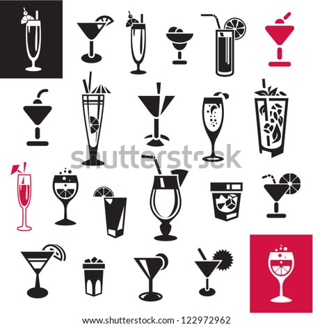 Cocktails set. Vector glasses collection.