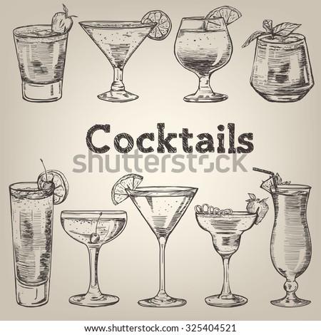 Cocktails vintage collection for restaurant design