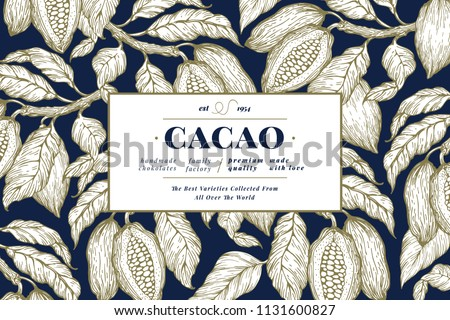 Cocoa bean tree banner template. Chocolate cocoa beans background. Vector hand drawn illustration. Retro style illustration.
