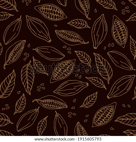 Cocoa beans and cocoa leaves seamless pattern. Hand drawn vector Cocoa beans, leaves sketch on dark brown background. Doodle Outline illustration. Plant parts. Organic product wrapping, packing, scrap
