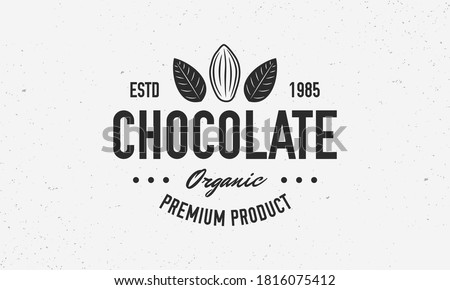 Cocoa Beans, Chocolate, Cacao logo, poster. Chocolate trendy logo with Cocoa Bean and leaves. Vector emblem template.