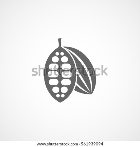 Cocoa Beans Flat Icon On White Background