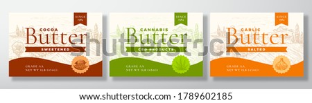 Cocoa, Cannabis and Garlic Butter Dairy Labels Collection. Abstract Vector Packaging Design Layouts Set. Modern Typography Banners with Hand Drawn Rural Landscape Background. Isolated.