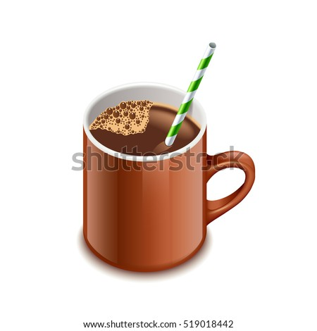 Cocoa drink isolated on white vector illustration