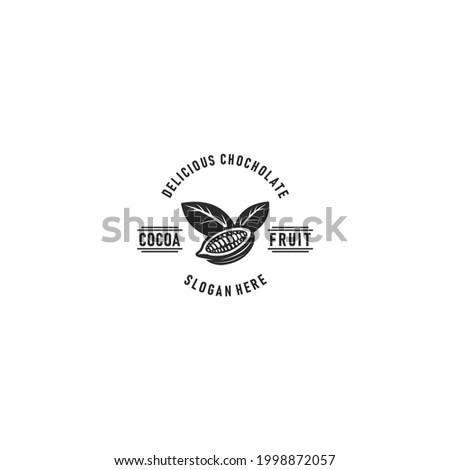 cocoa fruits logo template. Chocolate cocoa beans cocoa pod and plant cacao vector design Nature. in white background