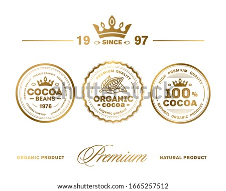 Cocoa Premium Quality Stamp. Vector icon set. High premium quality organic product.