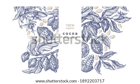 Cocoa template. Vector graphic background. Vintage hand drawn botanical tree, bean, tropical fruit, sketch leaf. Organic sweet food, aroma drink, natural chocolate. Engraved style