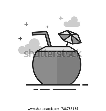 coconut drink icon in flat