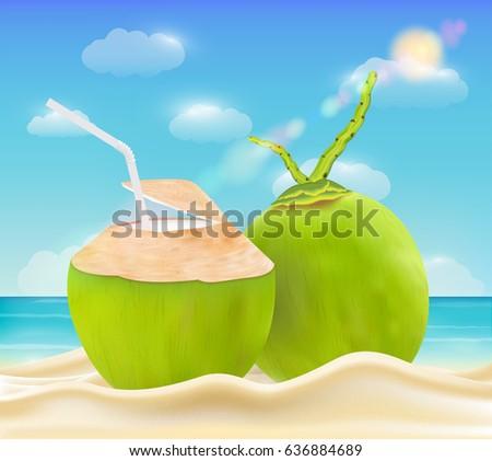 coconut drink on a bright sea