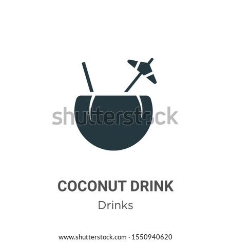 Coconut drink vector icon on white background. Flat vector coconut drink icon symbol sign from modern drinks collection for mobile concept and web apps design.