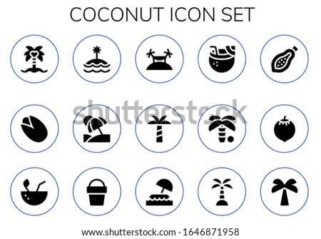 coconut icon set 15 filled