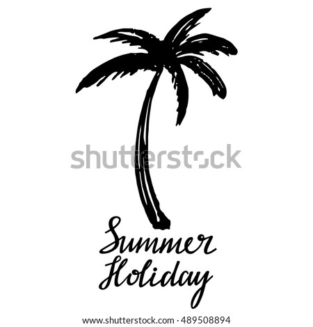 Coconut palm tree. Logo, icon, hand drawn. Summer holiday handwritten, calligraphy text, lettering. Isolated on white background. Vector design