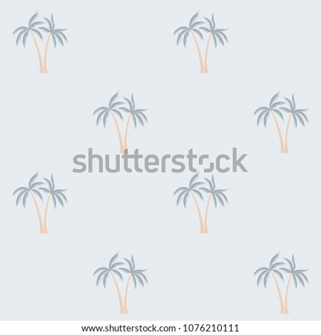 Coconut palm tree pattern textile material tropical forest background. Thailand vector wallpaper repeating pattern. Cute tropical plants, coconut trees, beach palms textile background design.