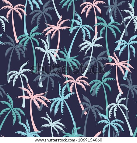 Coconut palm tree pattern textile seamless tropical forest background. Exotic vector swatch repeating pattern. Cute tropical plants, coconut trees, beach palms textile background design.