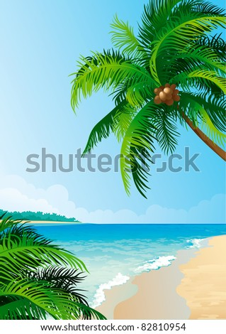 Coconut palm tree s. Vector illustration  of coconut palm trees on tropical coast - Vertical format.