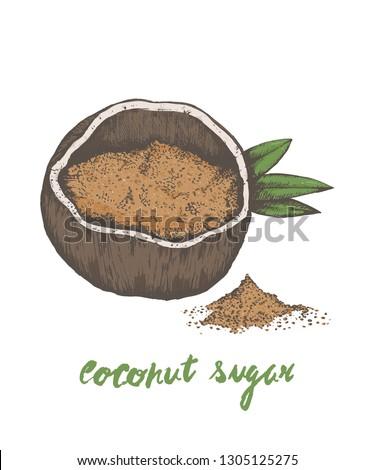 Coconut sugar, coconut palm sugar or coconut blossom sugar popular superfood sugar alternative