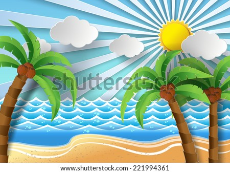coconut trees on the beach and