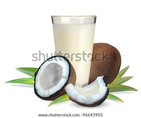 coconuts and a glass of coconut milk, vector