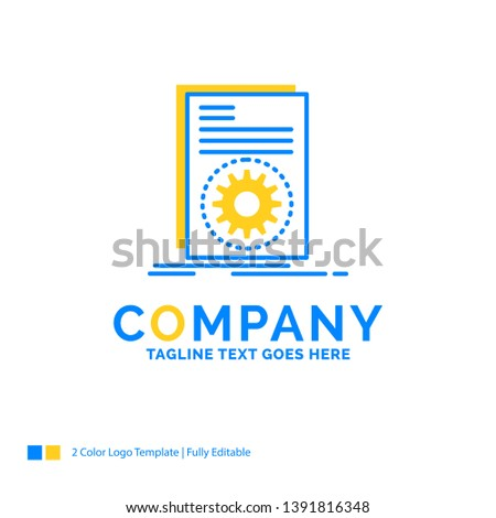 Code, executable, file, running, script Blue Yellow Business Logo template. Creative Design Template Place for Tagline.