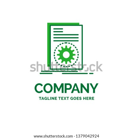 Code, executable, file, running, script Flat Business Logo template. Creative Green Brand Name Design.