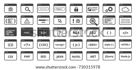 Code icons set in trendy flat style. Line code window on isolated background. Include programming  languages, development, debugging, security and software stickers