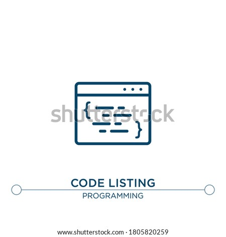 code listing vector line icon. Simple element illustration. code listing outline icon from programming concept. Can be used for web and mobile  Stock photo ©