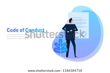 Code of Conduct. business man looking at paper. Concept of ethical integrity value and ethics. Illustration symbol in vector