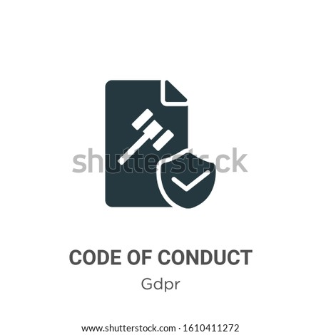 Code of conduct glyph icon vector on white background. Flat vector code of conduct icon symbol sign from modern gdpr collection for mobile concept and web apps design. Сток-фото ©