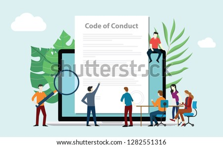 code of conduct team people work together on paper document on laptop screen - vector illustration Сток-фото ©