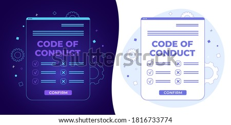 Code of Conduct vector concept with black and white background, dark ultra violet neon glowing thin icon and light-blue illustration. Document with concept of ethical, values, rules, principles. Сток-фото ©