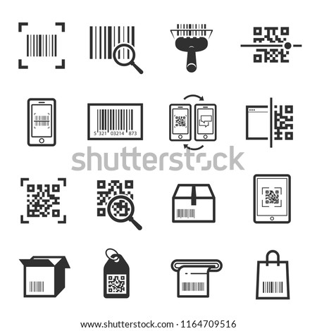 Code scanning icon set. Computer product examination using a scanner, price information. Vector barcode reading illustration on white background Foto stock ©