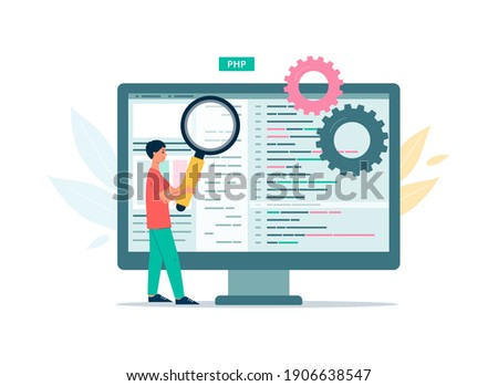 Code testing technology, web programming, application development and debugging. The programmer looks for bugs and errors and does data analysis. Vector flat illustration.