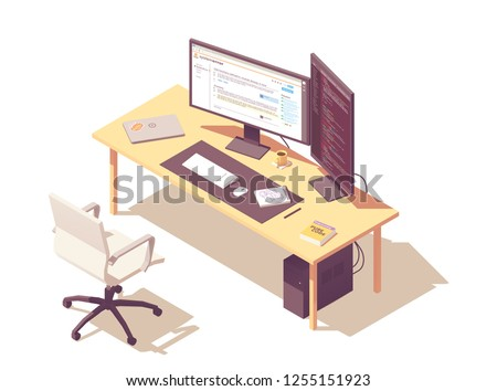 Coder or programmer office workspace. Vector isometric desk, desktop pc, two computer monitors, laptop, office chair, programming book