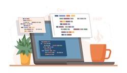 Coding and programming, developing sites using special language. Isolated laptop or computer screen with cup of coffee and plant in pot. Desk of coder, online programmer. Vector in flat style