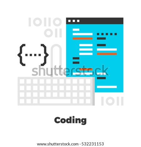 Coding Flat Icon. Material Design Illustration Concept. Modern Colorful Web Design Graphics. Premium Quality. Pixel Perfect. Bold Line Color Art. Unusual Artwork Isolated on White.
