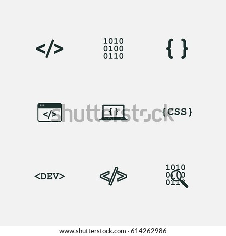 coding icons set vector Stock photo ©