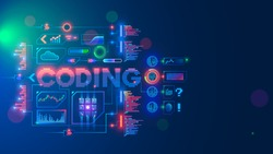 Coding or Programming conceptual banner. Education coding computer languages. Technology of software develop. Writing code of AI, learning artificial intelligence. Computer neural networks.