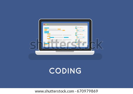 Coding php or html on laptop.