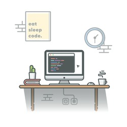 Coding Programmer Workspace with Cactus, Coffee and Book Vector Illustration. Development. Hacker. Coder. Flat Cartoon Style Suitable for Web Landing Page,  Banner, Flyer, Sticker, Card, Background