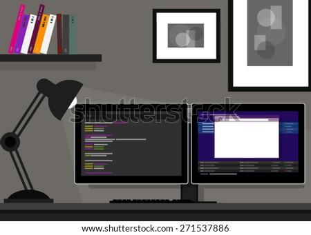 coding programming dual monitor