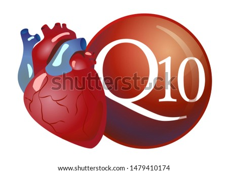 Coenzyme q10 and heart. Substance for maintaining cardiac activity. Basics of a healthy lifestyle. Great for label design, icon, logo, poster, banner