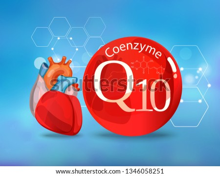 Coenzyme Q 10. Basics of healthy nutrition - heart health. Conceptual image