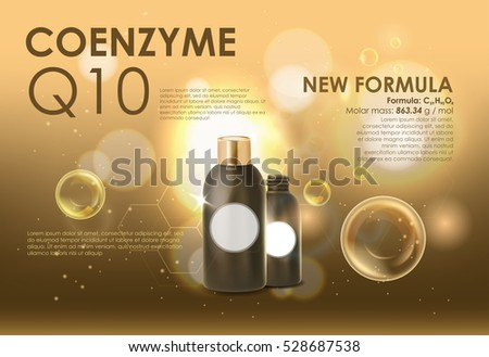 Coenzyme Q10. Supreme collagen oil drop essence. Cosmetic ads template, glass droplet bottle with essence oil isolated on brown background. 3D illustration. Q10 and other ingredients on poster.