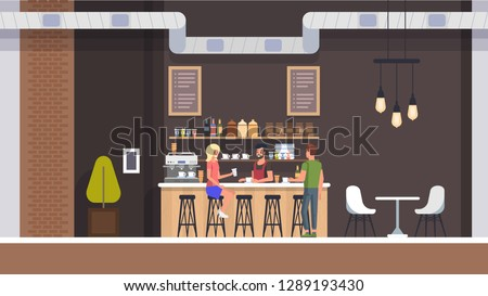 Coffe Shop Interior. Espresso and Cupcake Bar with Barista Character. Modern Cafeteria with Room and Table. Young Girl and Man Drink Espresso or Tea with Dessert. Flat Illustration.