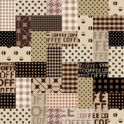 Coffee. Abstract coffee pattern on brown background with a lettring. Vector image.