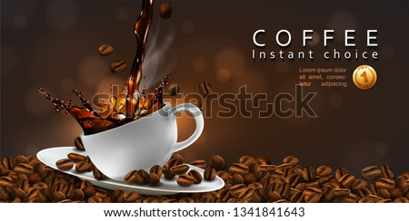 Coffee  advertising design. Coffee beans, cup of coffee with a splash effect  and a transparent smoke. 3D vector. High detailed realistic illustration