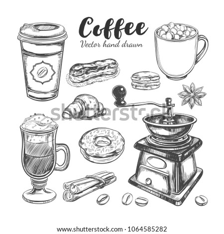 Coffee and Coffee to go set. Vector hand drawn illustrations. Bakery elements. Sketch style. Isolated objects