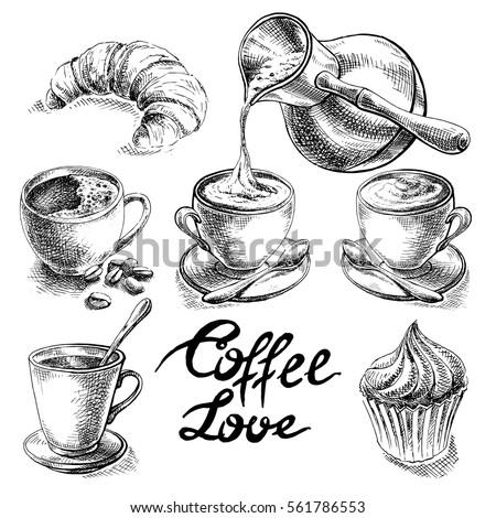 Coffee and desserts vector set illustration.