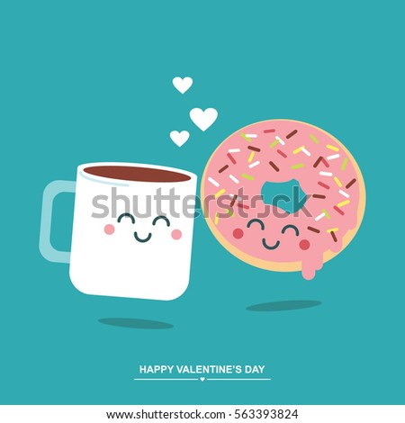 Coffee and donut cute valentines day illustration/ greetings card