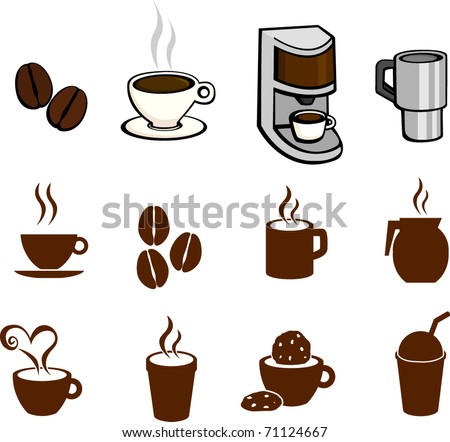 coffee and hot beverages illustrations and symbols set